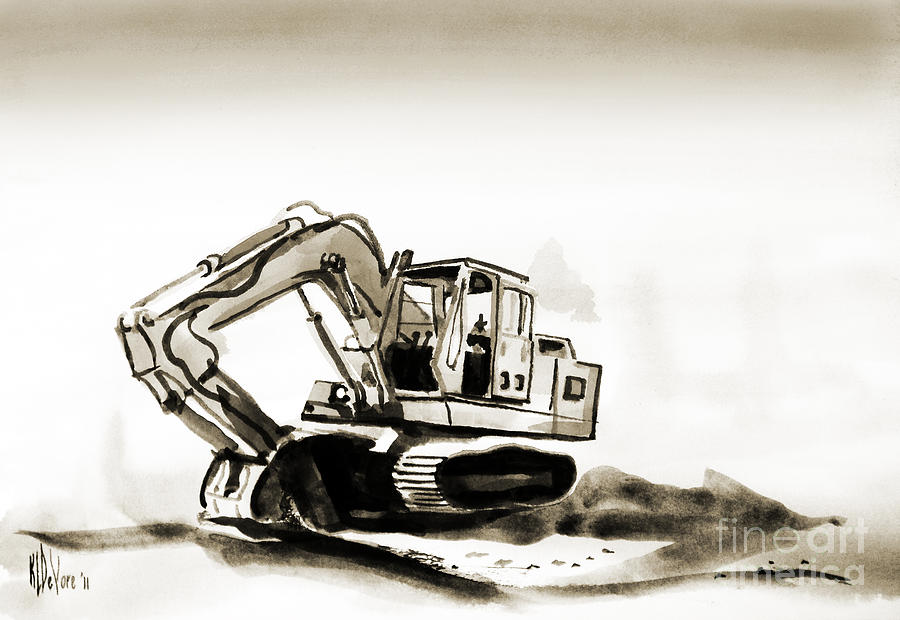 Duty Dozer In Sepia Painting