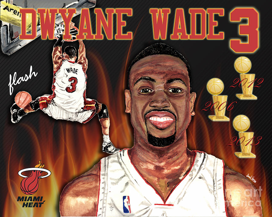 Dwyane Wade Mixed Media  - Dwyane Wade Fine Art Print