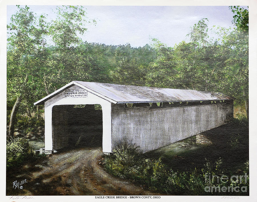 Eagle Creek Covered Bridge Brown County Ohio Painting  - Eagle Creek Covered Bridge Brown County Ohio Fine Art Print