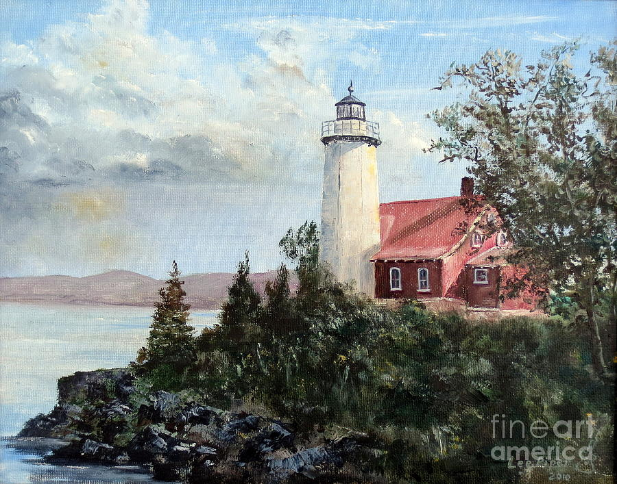 Lee Piper Painting - Eagle Harbor Light by Lee Piper
