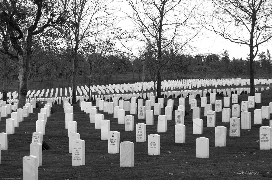 Eagle Point National Cemetery In Black And White Photograph  - Eagle Point National Cemetery In Black And White Fine Art Print