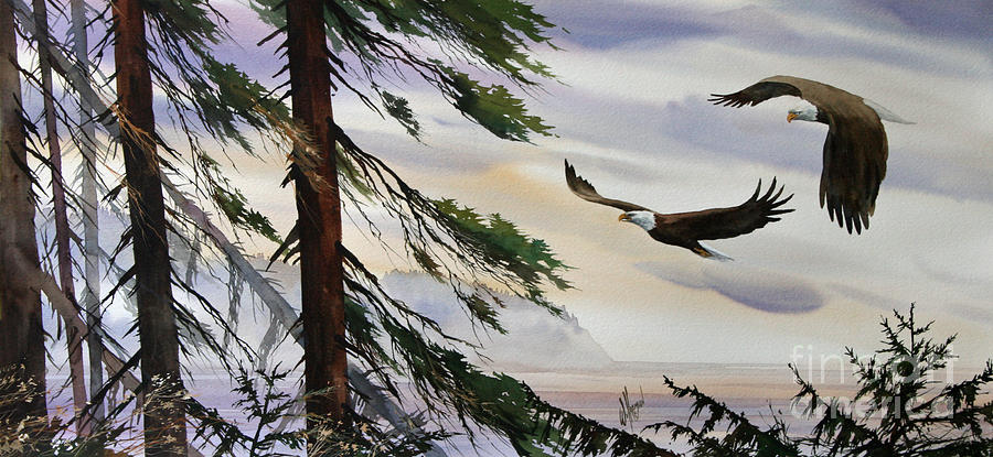 Eagle Fine Art Print Painting - Eagles Romance by James Williamson