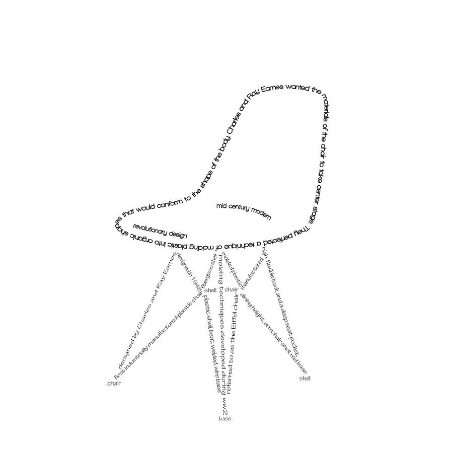 Eames Scoop Chair Typography Art Print Digital Art