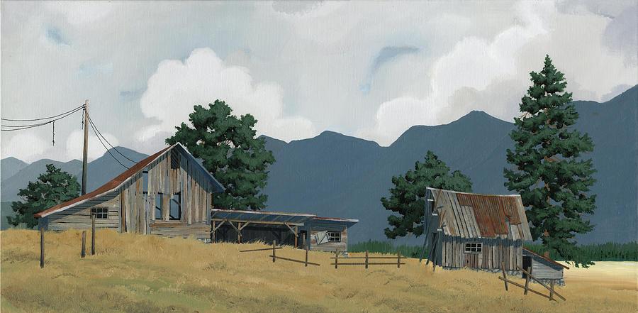 Early Bigfork Farmstead Painting by John Wyckoff