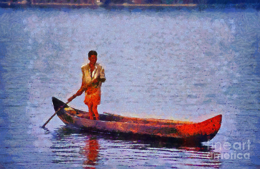 Early Morning Fishing In India Painting  - Early Morning Fishing In India Fine Art Print