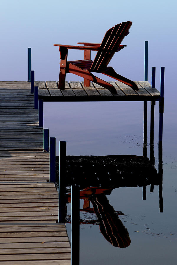 Red Chair Photograph - Early Morning Peace by Kathleen Scanlan