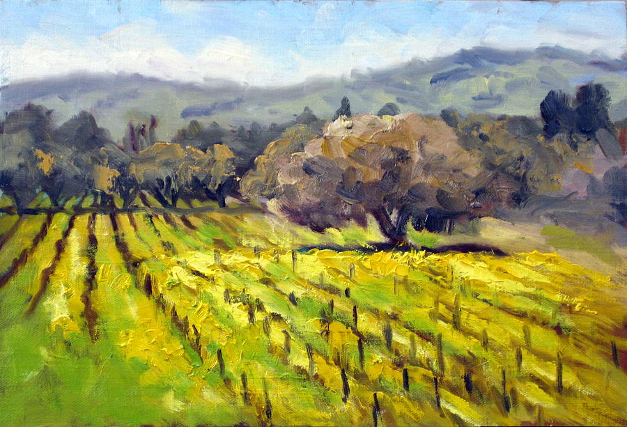 Early Mustard In The Vineyards Painting