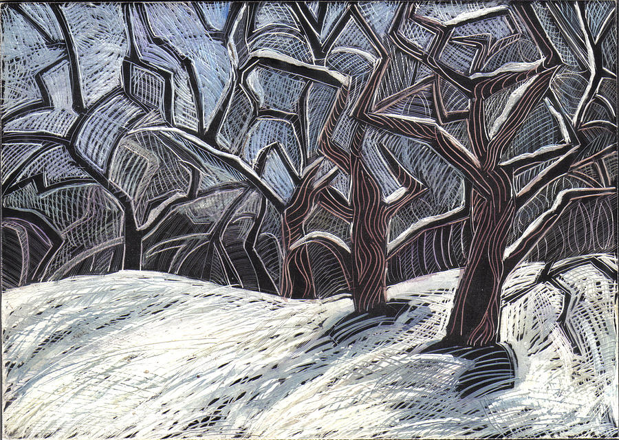 Maine Landscape Drawing - Early Snow by Grace Keown