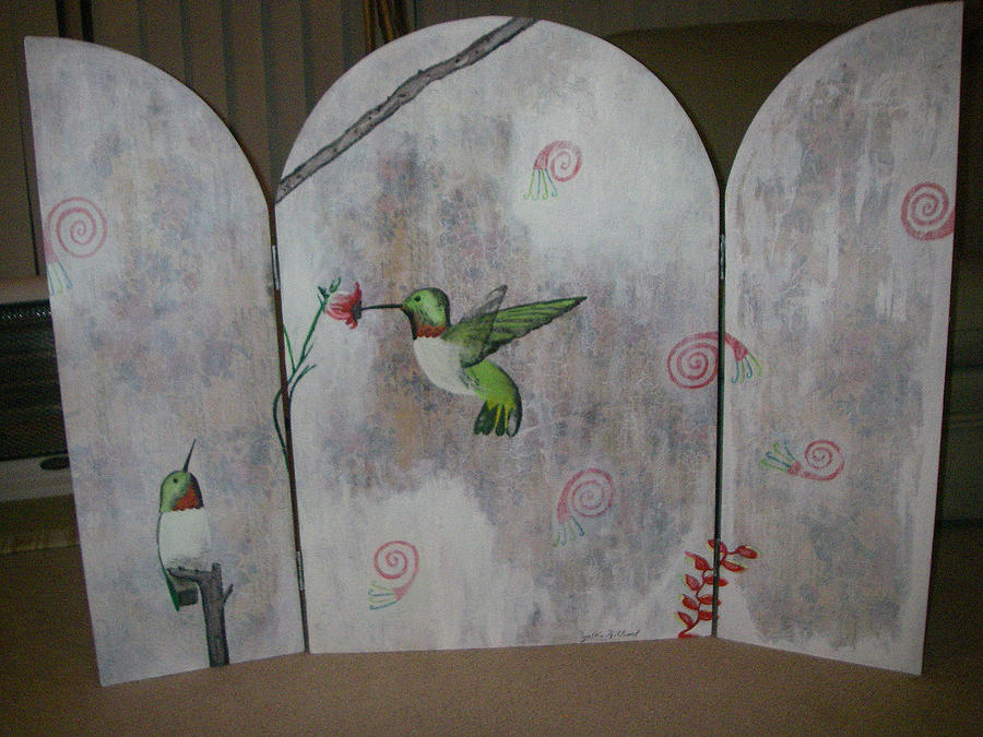 Hummingbirds Painting - Early Spring A.k.a Hummingbirds by Cynthia Hilliard