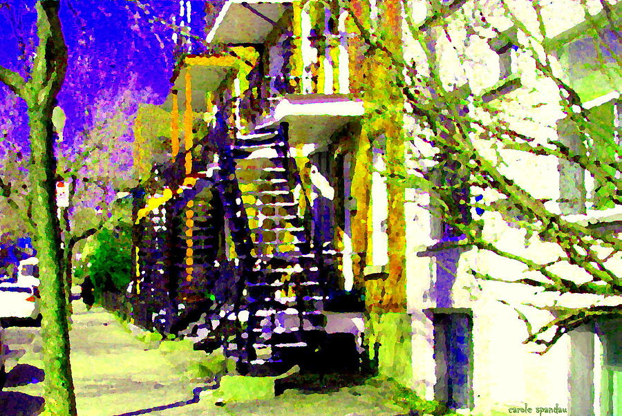 Montreal Painting - Early Spring Stroll City Streets With Spiral Staircases Art Of Montreal Street Scenes Carole Spandau by Carole Spandau