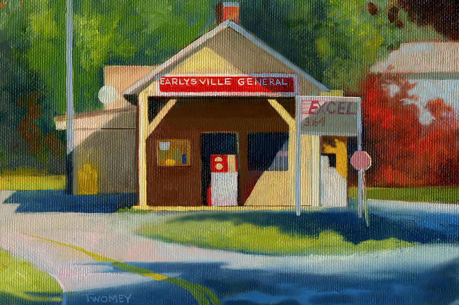 Earlysville Virginia Old Service Station Nostalgia Painting  - Earlysville Virginia Old Service Station Nostalgia Fine Art Print