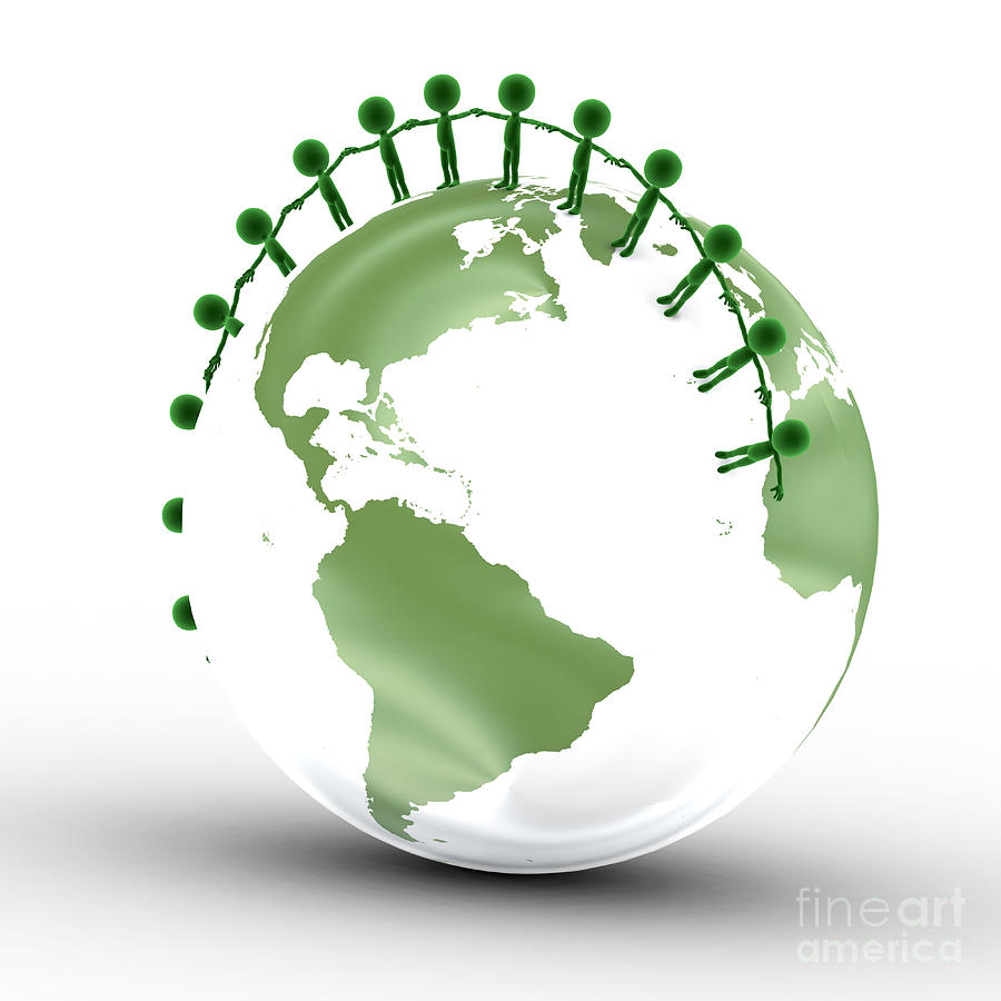 Earth Globe And Conceptual People Together Digital Art  - Earth Globe And Conceptual People Together Fine Art Print