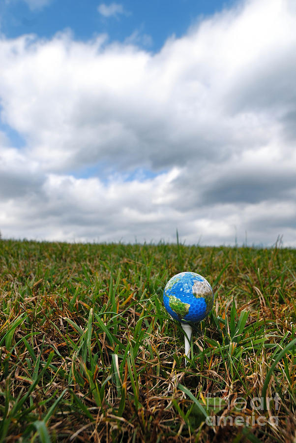 Earth Golf Ball On Tee Photograph