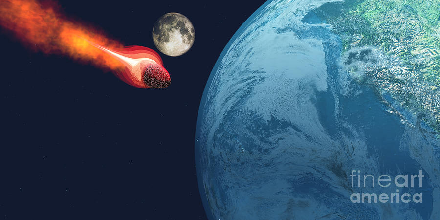Earth Hit By Asteroid Painting