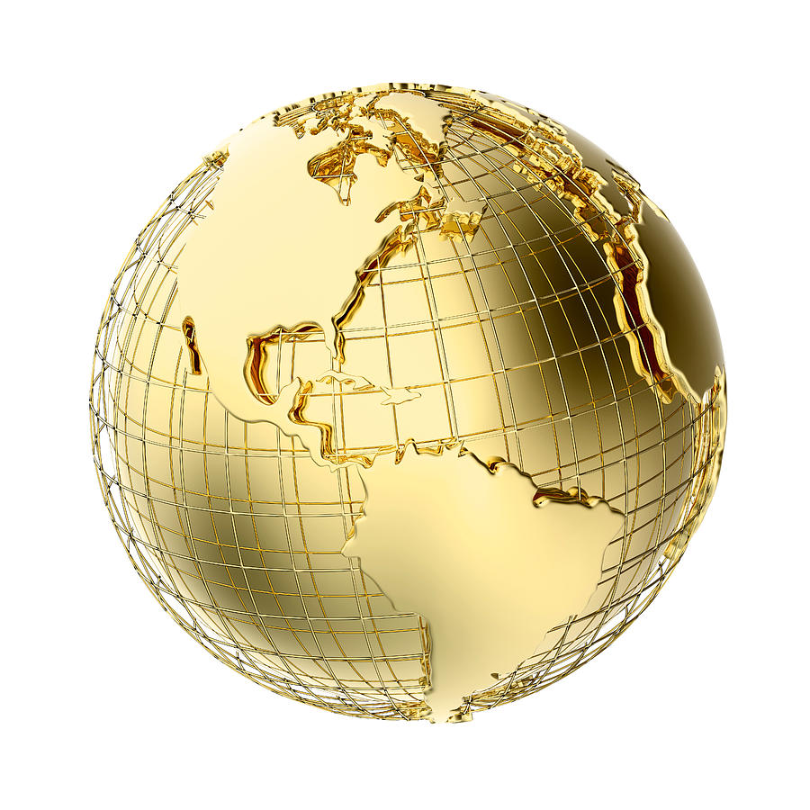 Earth In Gold Metal Isolated On White Photograph