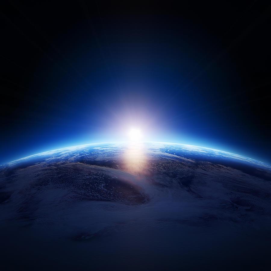 Earth Sunrise Over Cloudy Ocean  Photograph