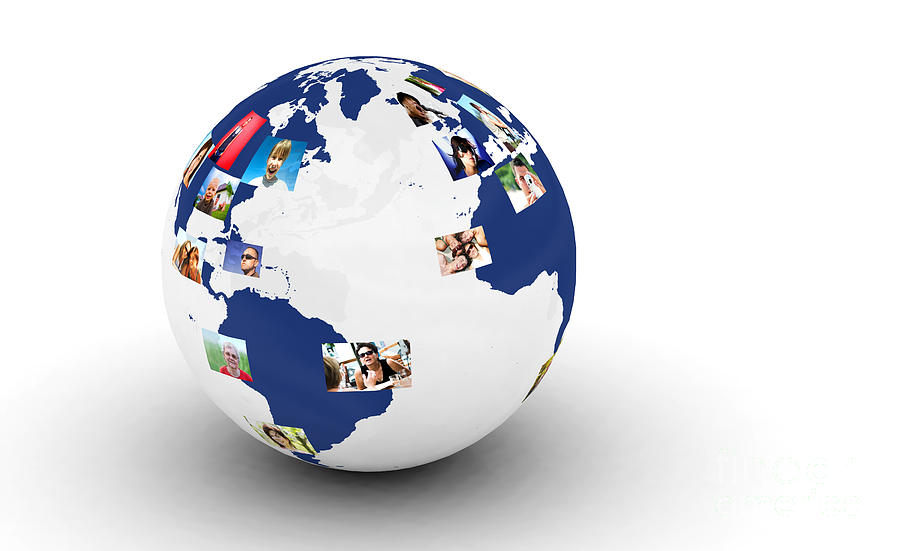 Earth With People Photos In Network Digital Art  - Earth With People Photos In Network Fine Art Print