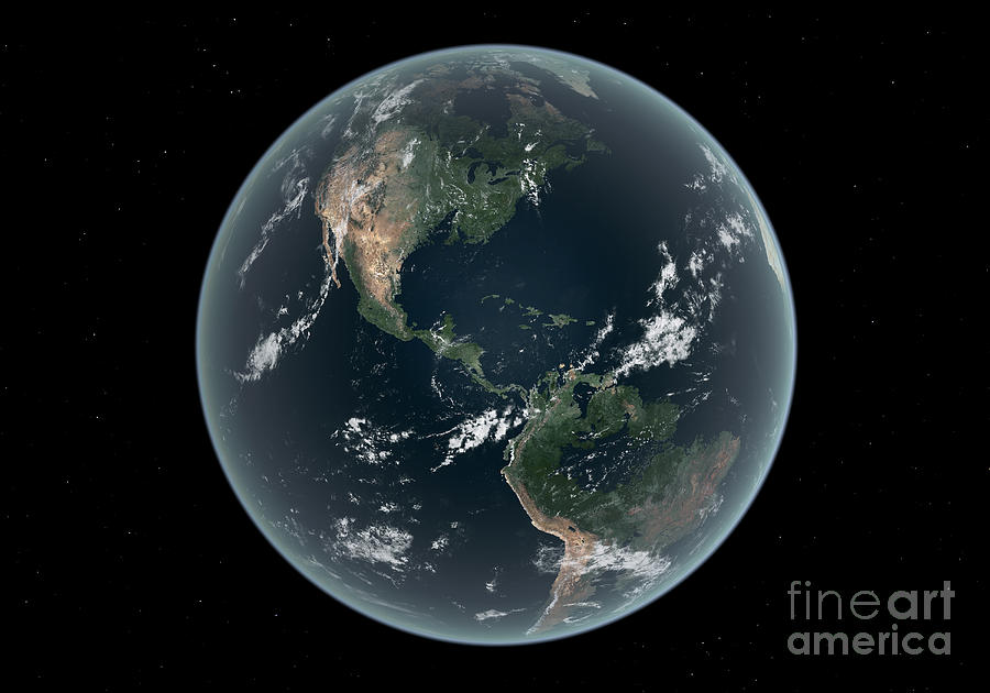Earths Western Hemisphere With Rise Digital Art