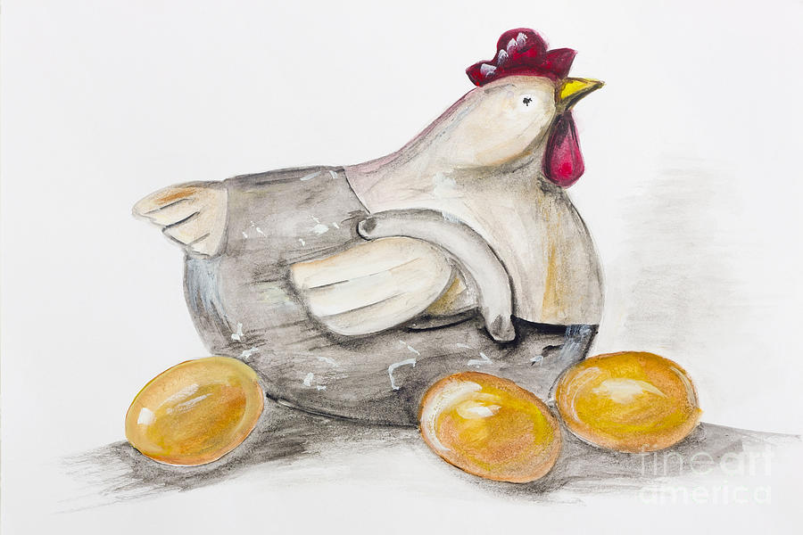 Chicken Sitting On Eggs: Easter Chicken Sitting On A Golden Eggs Painting By Irina