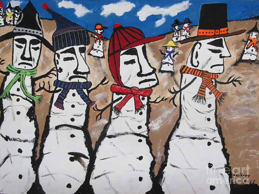 Easter Island Snow Men Painting  - Easter Island Snow Men Fine Art Print