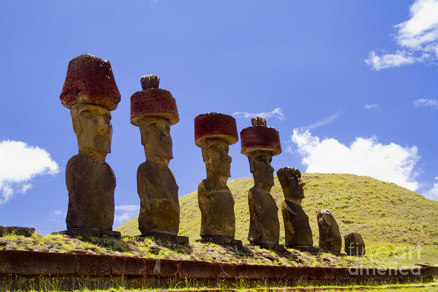Easter Island Photograph - Easter Island Statues  by David Smith