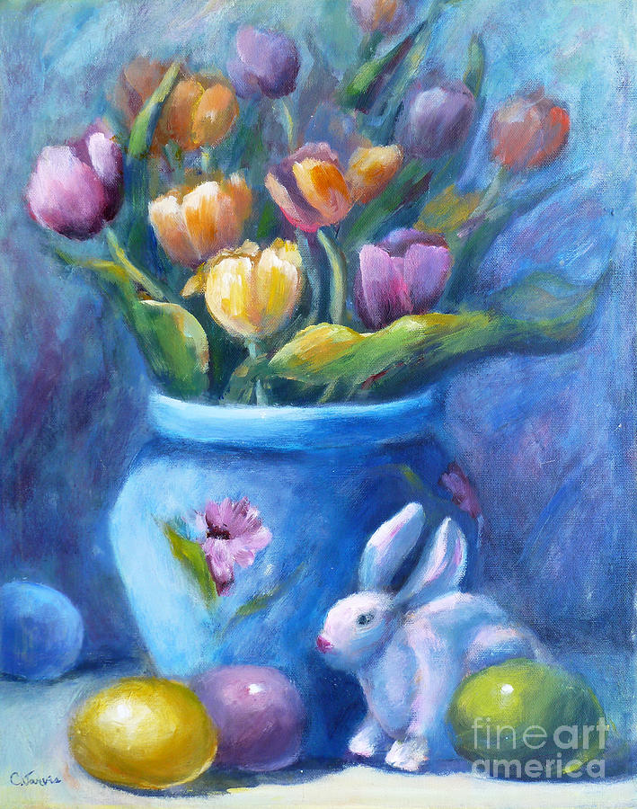 Easter Still Life Painting by Carolyn Jarvis