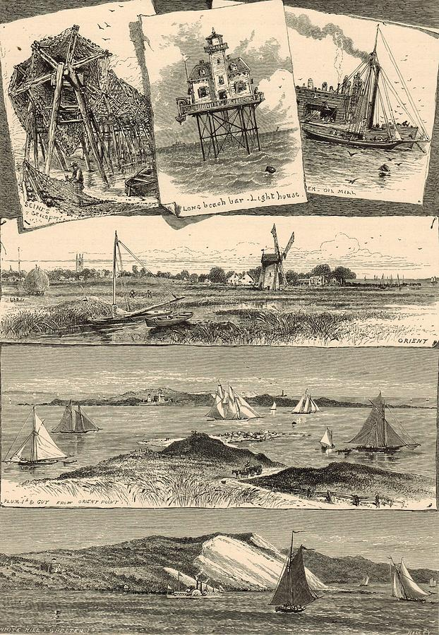 Eastern Long Island Scenes 1872 Engraving Painting  - Eastern Long Island Scenes 1872 Engraving Fine Art Print