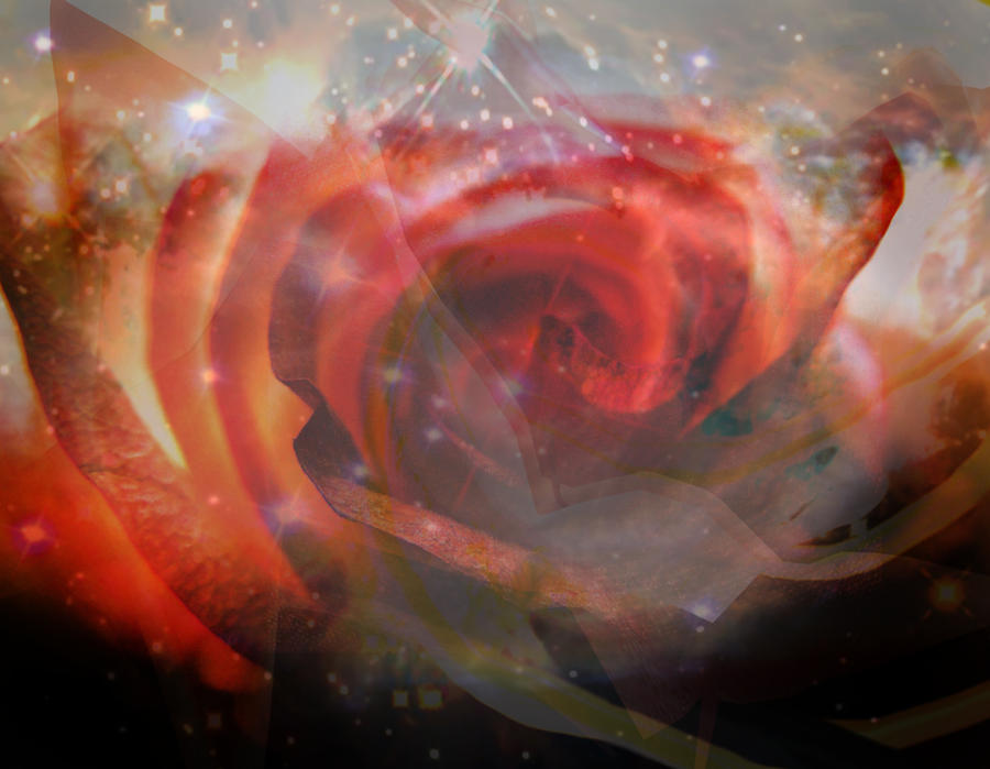 Hubble Digital Photograph Art Glass Reflections Non Representational Abstract Art Reds Yellows Bright Space Shine Judy Paleologos Print Photographs Photograph - Echoes Of The Rose by Judy Paleologos