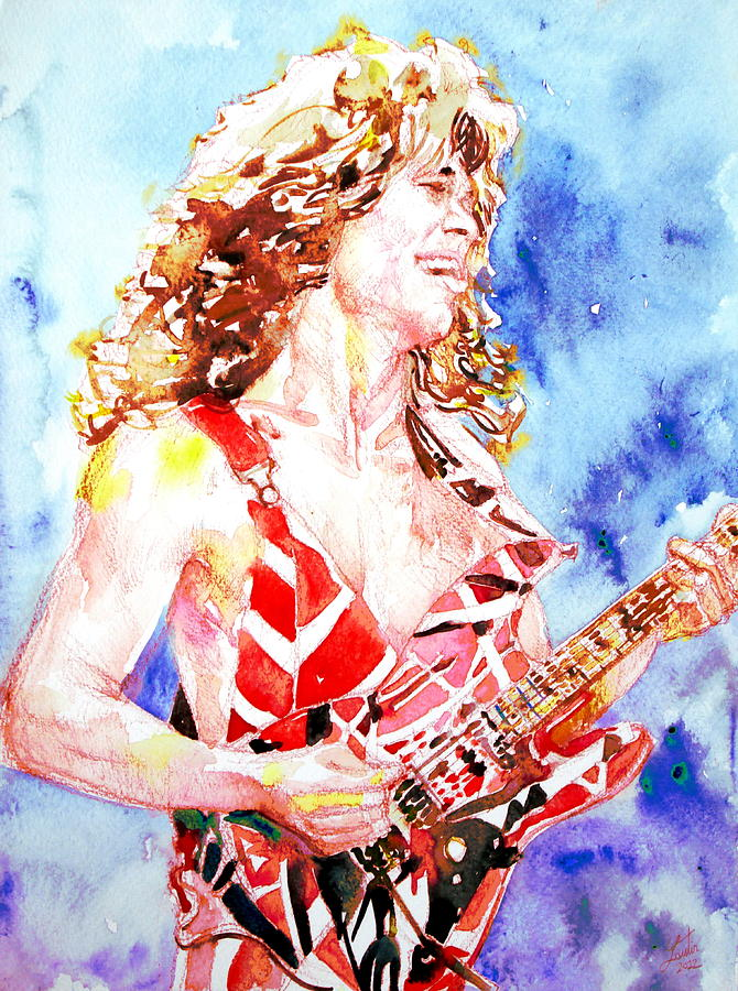 Eddie Van Halen Playing The Guitar.2 Watercolor Portrait Painting  - Eddie Van Halen Playing The Guitar.2 Watercolor Portrait Fine Art Print