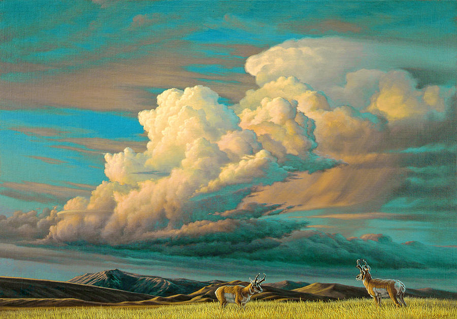 Landscape Painting - Edge Of The Prairie- Pronghorn by Paul Krapf