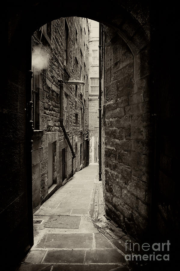 Edinburgh Alley Sepia Photograph