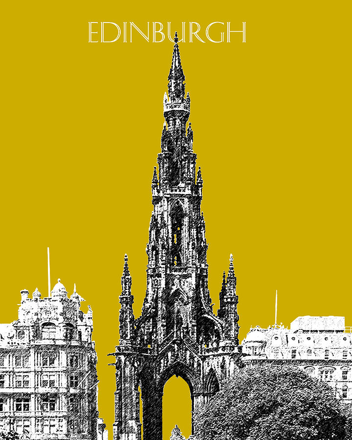 Edinburgh Skyline Scott Monument - Gold Digital Art  - Edinburgh Skyline Scott Monument - Gold Fine Art Print