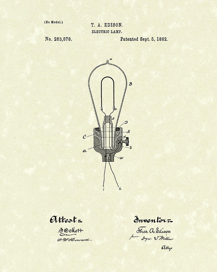 Edison Electric Lamp 1882 Patent Art Drawing  - Edison Electric Lamp 1882 Patent Art Fine Art Print