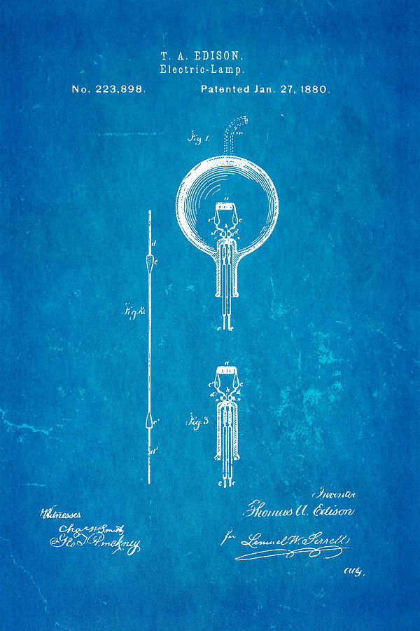 Edison Electric Lamp Patent Art 1880 Blueprint Photograph