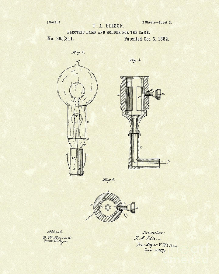 Edison Lamp 1882 Patent Art Drawing  - Edison Lamp 1882 Patent Art Fine Art Print
