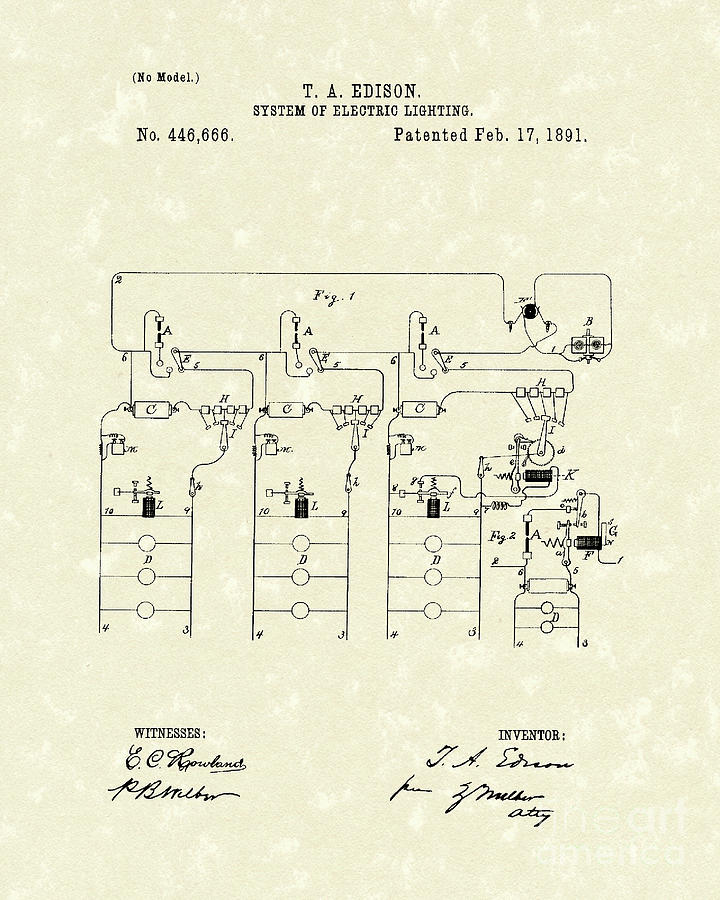 Edison Lighting System 1891 Patent Art Drawing  - Edison Lighting System 1891 Patent Art Fine Art Print