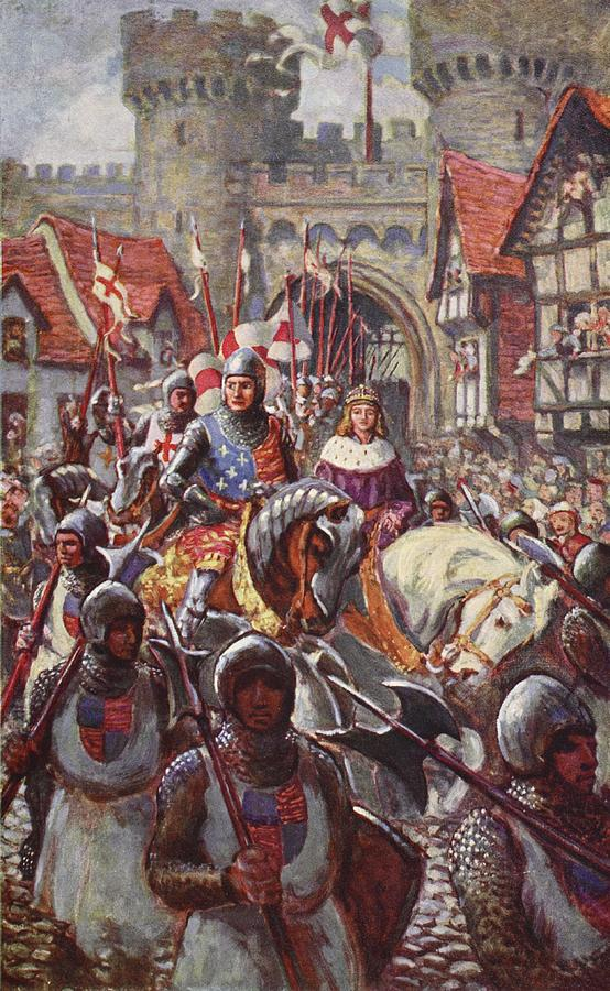Male Drawing - Edward V Rides Into London With Duke by Charles John de Lacy