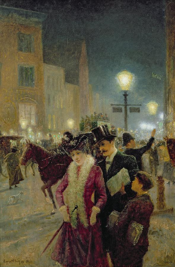 Streetlamp Painting - Edwardian London by Eugene Joseph McSwiney