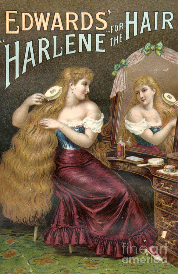 Edwards Harlene For Hair 1890s Uk Hair Drawing  - Edwards Harlene For Hair 1890s Uk Hair Fine Art Print