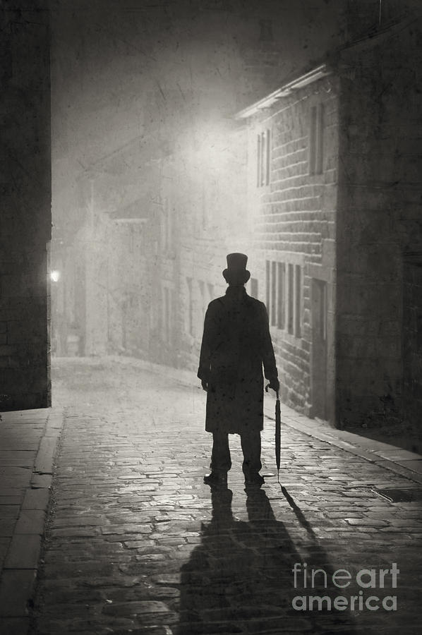 Victorian Photograph - Eerie Victorian Man Standing On A Foggy Cobbled ...