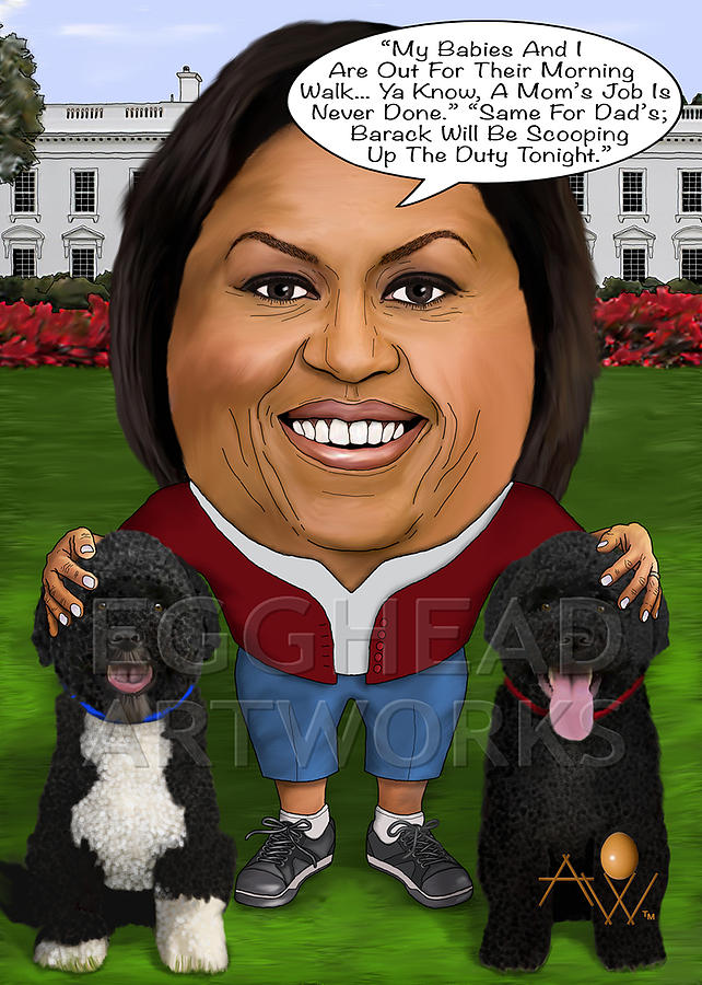 Egghead Caricature Of The First Lady Michelle Obama Painting