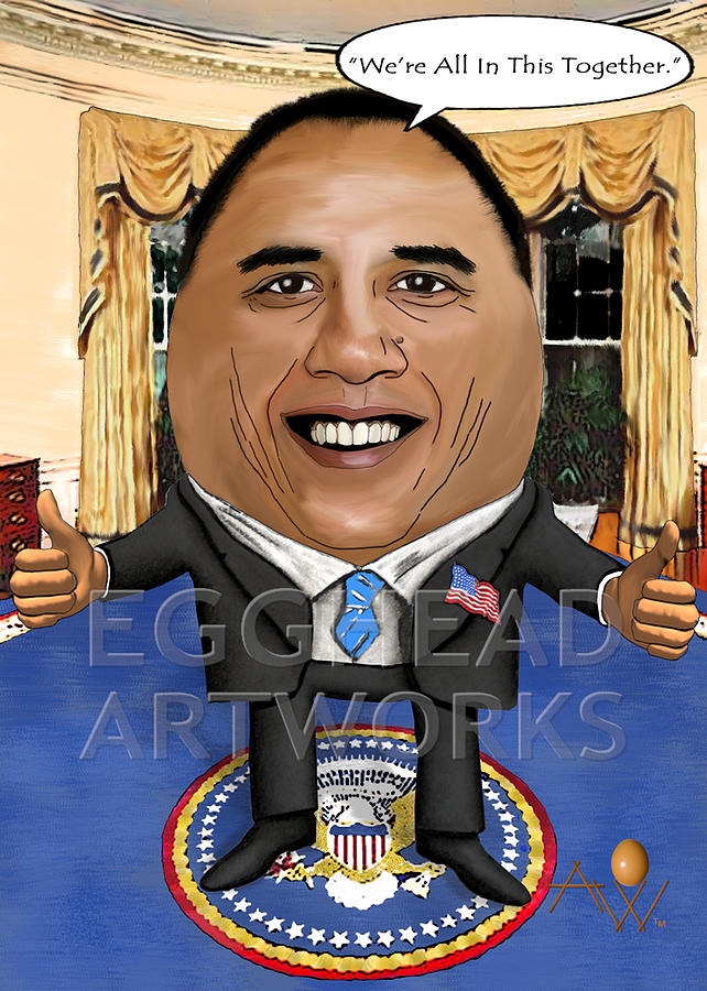 Egghead Caricature Of The United States President Barack Obama Painting