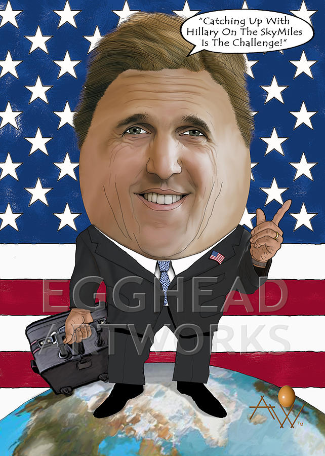 Egghead Caricature Of The United States Secretary Of State John Kerry Painting  - Egghead Caricature Of The United States Secretary Of State John Kerry Fine Art Print