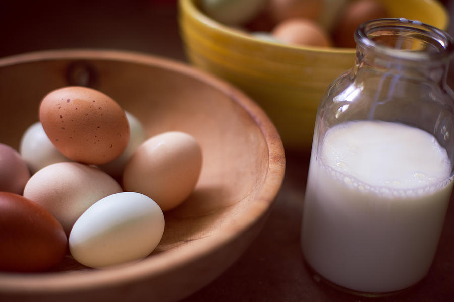 Eggs Bowls And Milk Photograph
