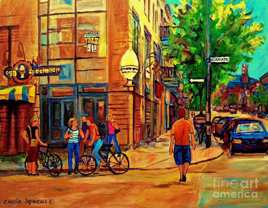 Eggspectation Cafe Resto Bar On Esplanade Montreal Restaurant City Scene Painting  - Eggspectation Cafe Resto Bar On Esplanade Montreal Restaurant City Scene Fine Art Print
