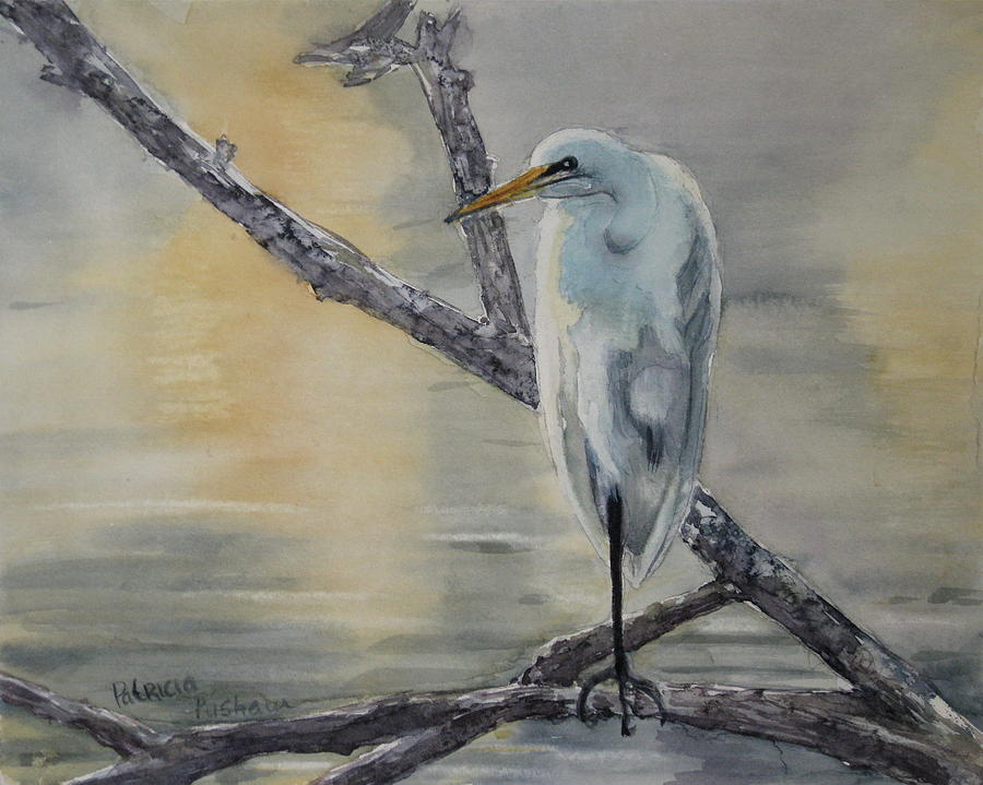 Egret At Dusk Painting