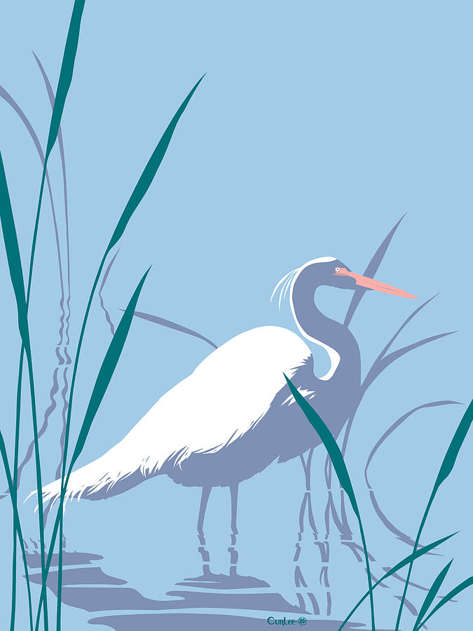 Egret Graphic Pop Art Nouveau 80s 1980s Stylized Retro Tropical Florida Bird Print Blue Gray Green Painting  - Egret Graphic Pop Art Nouveau 80s 1980s Stylized Retro Tropical Florida Bird Print Blue Gray Green Fine Art Print