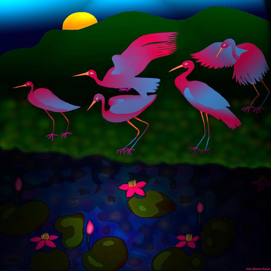 Egrets Digital Art