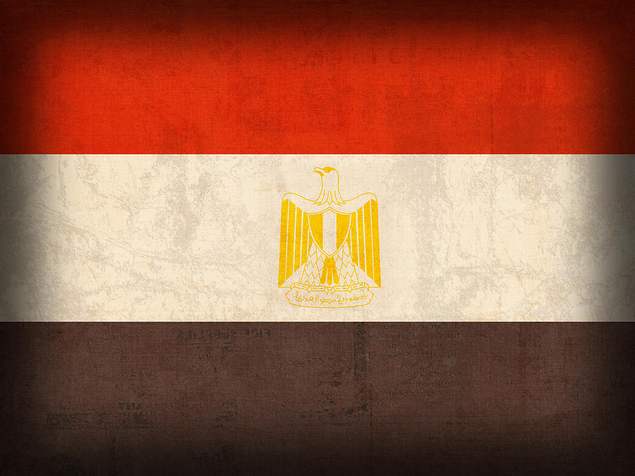 Egypt Flag Distressed Vintage Finish Mixed Media