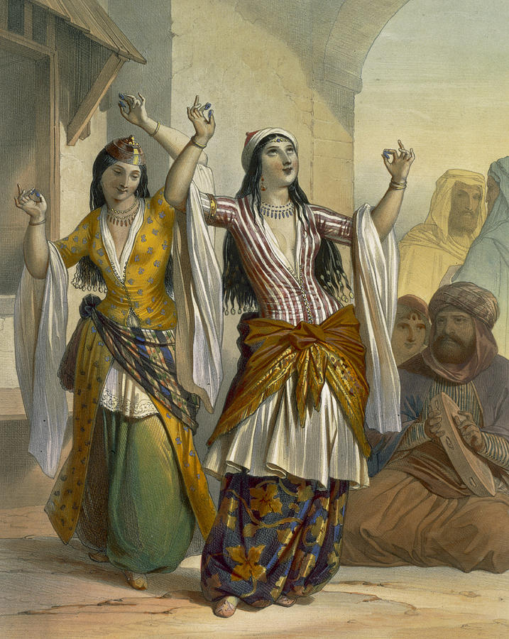 Egyptian Dancing Girls Performing Drawing